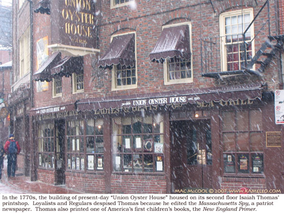 Photo of the Union Oyster House, the printshop of Isaiah Thomas, in Boston, Massachusetts
